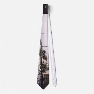 Charming little boats sail into a port neck tie