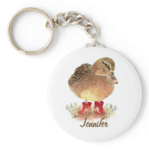 Charming little Duck in Red Rubber Boots Keychain