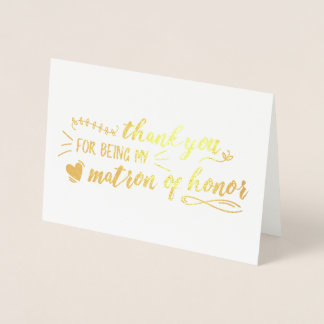 Charming Matron of Honor Thank You Foil Card