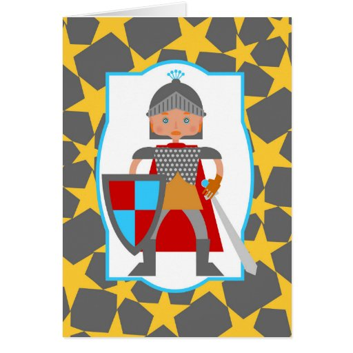 Charming medieval knight greeting card