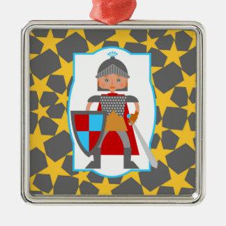 Charming medieval knight metal ornament