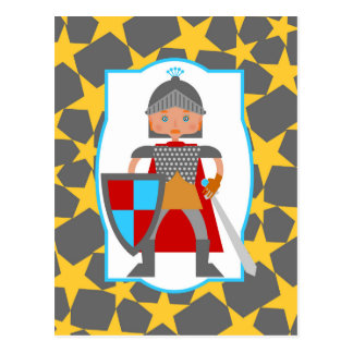 Charming medieval knight post card