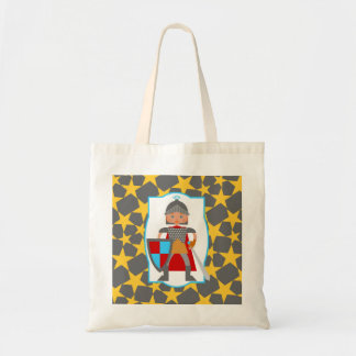Charming medieval knight tote bag