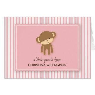 Charming Monkey Kids Thank-You Card (pink)