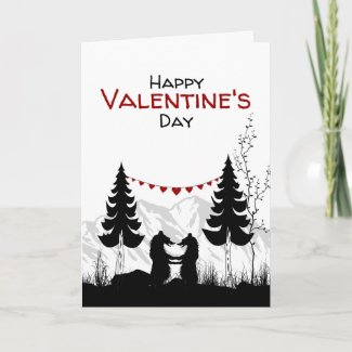 Charming Mountain Bears in Love Valentine's Day Holiday Card