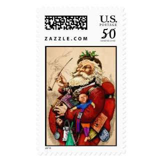 Charming old Santa Claus with pipe and toys Postage