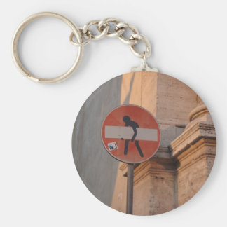 Charming one-way sign keychain