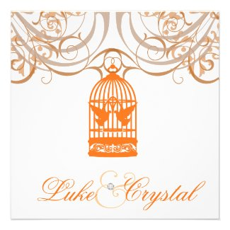 Charming Orange Birdcage Wedding Invitation