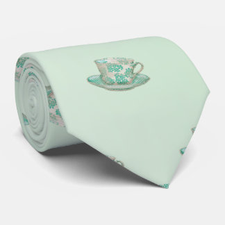 Charming Pale Aqua Tea Cup and Saucer Pattern Tie