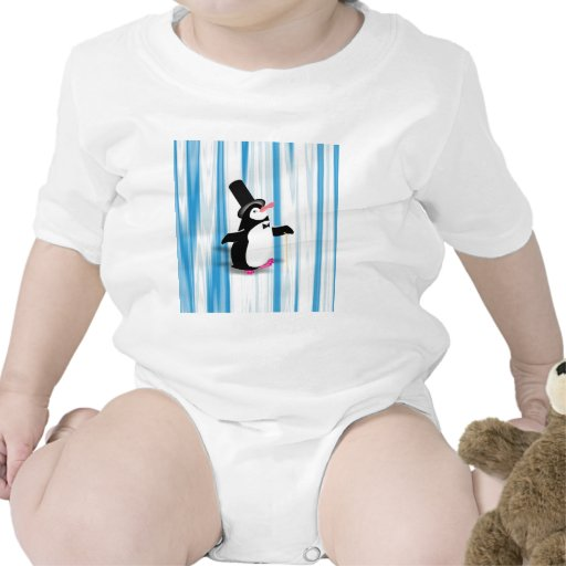 Charming Penguin on Blue Curtain Baby Bodysuits