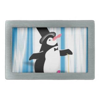 Charming Penguin on Blue Curtain Rectangular Belt Buckle
