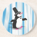 Charming Penguin on Blue Curtain Beverage Coaster