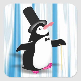 Charming Penguin on Blue Curtain Stickers