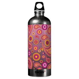 Charming Pink & Black Paisley Water Bottle