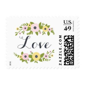Charming Pink Florals Wedding Love Stamp