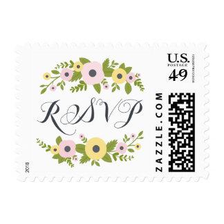 Charming Pink Florals Wedding RSVP Stamp