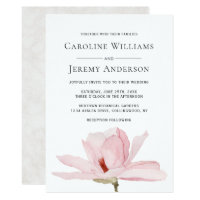 Charming Pink Magnolia Wedding Invitation