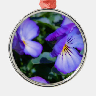Charming Purple Pansy Metal Ornament