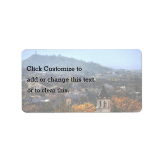Charming, quaint village with steepled church address label