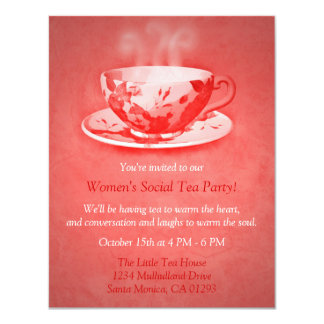 Charming Red Tea Party Invitation