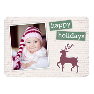 Charming Reindeer Craft Happy Holiday Flat Card