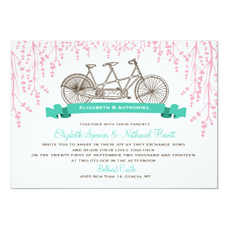 Charming Ride Wedding Invitation in Pink & Teal