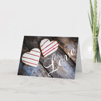 Charming Rustic Heart Cookies LOVE Valentine's Day Holiday Card