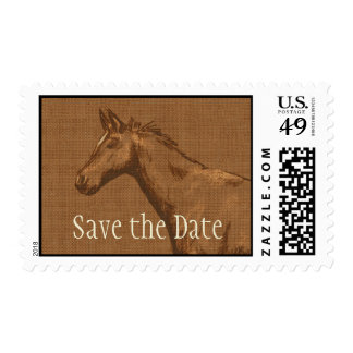 Charming Rustic Horse Save the Date Stamp