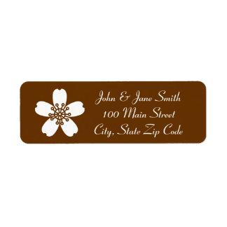 Charming Sakura in Chocolate Return Address Label