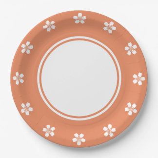 Charming Sakura in Coral Paper Plate