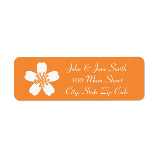 Charming Sakura in Orange Return Address Label