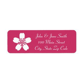 Charming Sakura in Raspberry Return Address Label