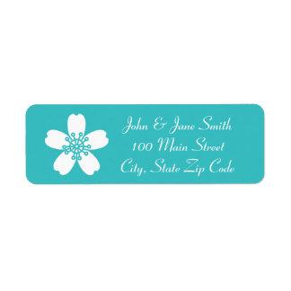 Charming Sakura in Turquoise Return Address Label