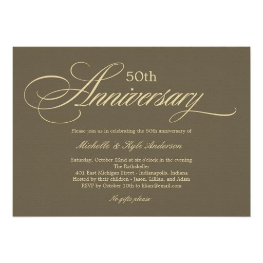 Charming Script Anniversary Invitation - Golden