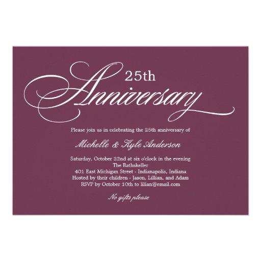 Charming Script Anniversary Invitation - Purple