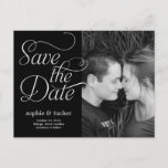 """Charming Script Save The Date Card<br><div class=""""desc"""">This chic and modern postcard stylishly requests your guests to save the date. Available in other colors (custom color requests are welcome!).</div>"""