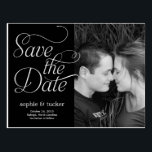 "Charming Script Save The Date Card<br><div class=""desc"">This chic and modern postcard stylishly requests your guests to save the date. Available in other colors (custom color requests are welcome!).</div>"