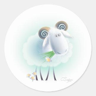 charming sheep classic round sticker