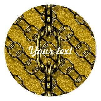 charming shiny chains golden (I) 5.25x5.25 Square Paper Invitation Card