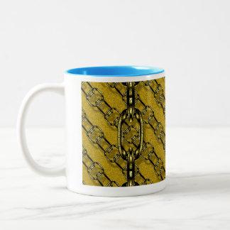 charming shiny chains golden (I) Two-Tone Coffee Mug