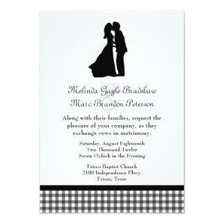 Charming Silhouette Kissing Couple Wedding Card