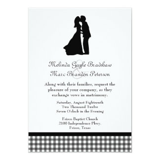 Charming Silhouette Kissing Couple Wedding 5x7 Paper Invitation Card