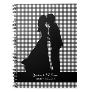 Charming Silhouette Kissing Couple Wedding Notebook