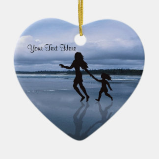 Charming Silhouette Mother & Daughter at the Beach Ceramic Ornament