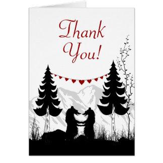 Charming Silhouette Mountain Bears Thank You Card