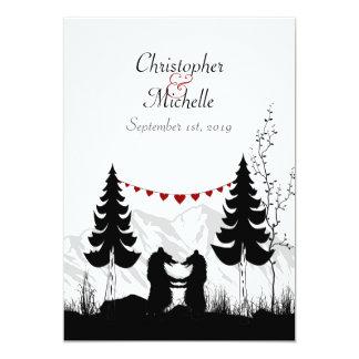 Charming Silhouette Mountain Bears Wedding Card