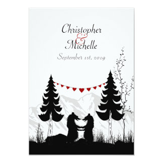 Charming Silhouette Mountain Bears Wedding Invite