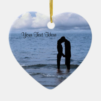 Charming Silhouette of Husband & Wife at the Beach Ceramic Ornament