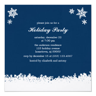 Charming Snowflakes Christmas Party Card