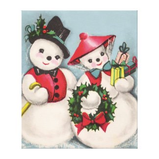 Charming Snowmen Couple Stretched Canvas Print